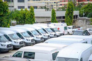 Une vue des 55 véhicules